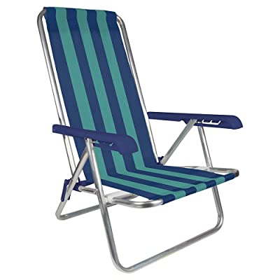 MOR 4-Position Aluminum Beach Chair - (Pack of 1) - (Blue & Green Stripe): Kitchen & Dining