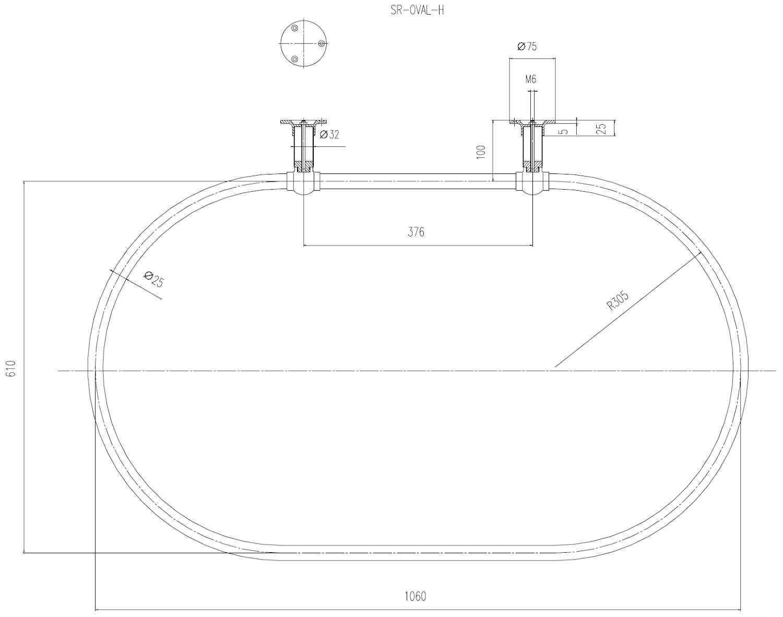 West radiateurs Traditionnel Grand Ovale 1120/mm Chrome Rail de Rideau de Douche avec paroi Lat/érale Reste