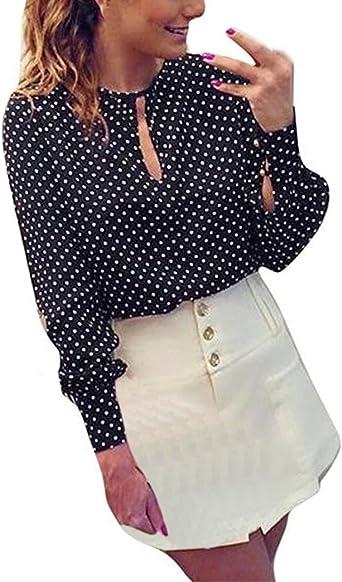 Saoye Fashion Mujer Camisas Chiffon Manga Larga Negras Primavera Verano Lunares Camisa De Vestir Fiesta Elegantes Casual De Señoras Cuello Redondo Blusas Blusones Tops: Amazon.es: Ropa y accesorios