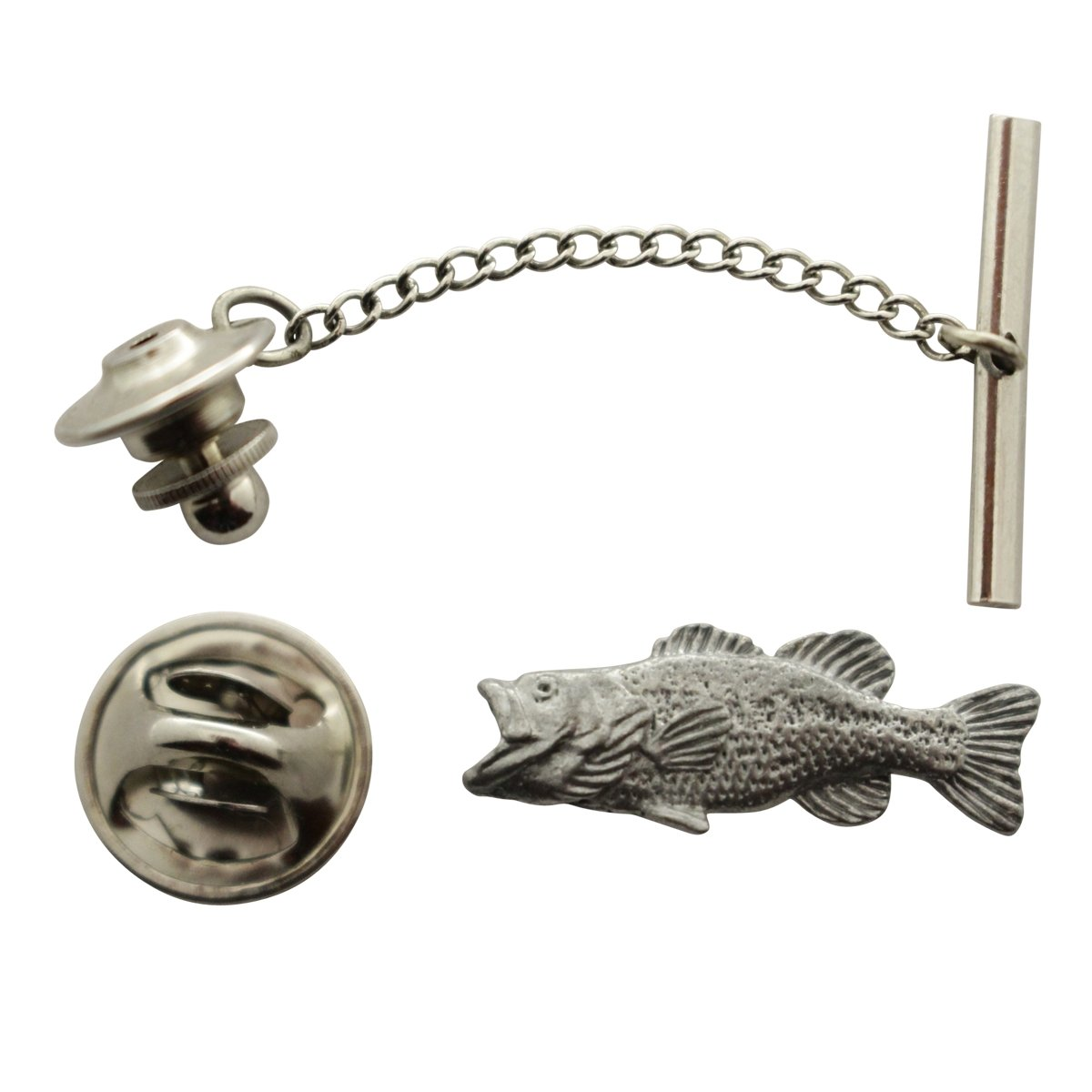 Largemouth Bass Tie Tack ~ Antiqued Pewter ~ Tie Tack or Pin ~ Sarah's Treats & Treasures