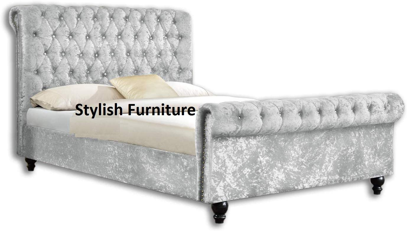 - UKBED MANUFACTURER CHESTERFIELD SLEIGH STYLE SILVER UPHOLSTERED