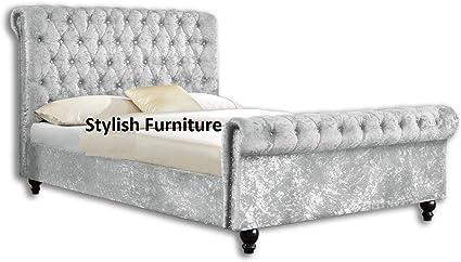 Estructura de cama, tipo trineo, con tapizado de terciopelo arrugado y abotonado, tamaño King (1,52 cm)