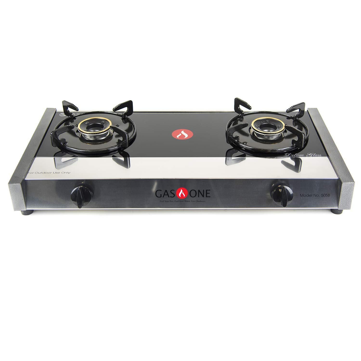 Gas One 5058 Premium Gas Stove Range with Propane Regulator-2 Burner Tempered Glass Cooktop Auto Ignition