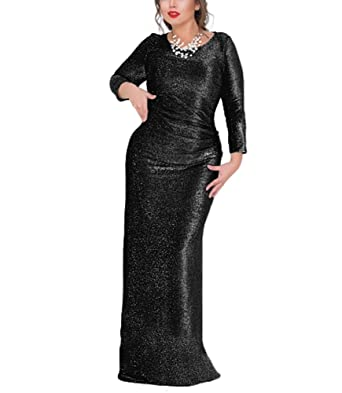 COCOEPPS Womens Plus Size Long Sleeve Shiny Evening Party Maxi Dresses Christmas Dresses HEI M
