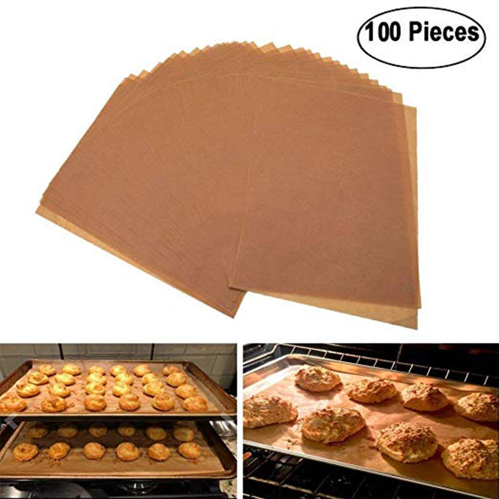 (Set of 100 )Jumbo Size Parchment Paper Sheets, Brown Unbleached Eco-Friendly – 12x16 inches for Half Sheet Pans/Pan Liners Baking Sheets Palker Sky