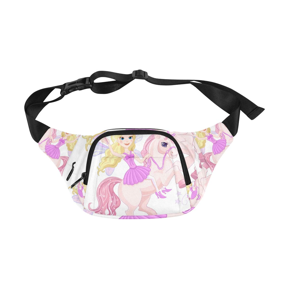 Little Unicorn With Princess Girl Fenny Packs Waist Bags Adjustable Belt Waterproof Nylon Travel Running Sport Vacation Party For Men Women Boys Girls Kids