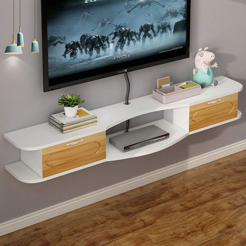Floating Shelf Wall Mount TV Cabinet Media Console Modern TV Storage Console with Drawer and Open Storage Shelf Floating Hutch Storage Cabinet for Living Room or Office TV Stand Component Shelf by SjYsXm-Floating shelf