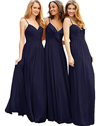5bba6d2e9ec A Line V Neck Chiffon Bridesmaid Dress Long Simple Rullfes Formal Wedding  Party Gowns for Women