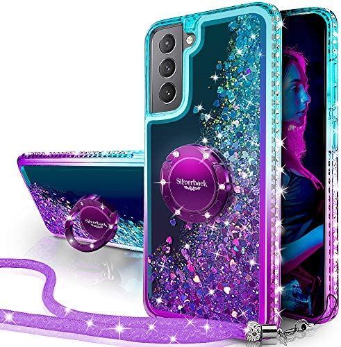 Silverback for Galaxy S21 Case, Moving Liquid Holographic Sparkle Glitter Case with Kickstand, Girls Women Bling Diamond Ring Slim Protective Case for Samsung Galaxy S21 5G -Purple