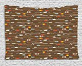 Tribal Tapestry, Ethnic Native American Eastern Style with Brown Backdrop and Colorful Arrows Image, Wall Hanging for Bedroom Living Room Dorm, 60 W X 40 L Inches, Multicolor