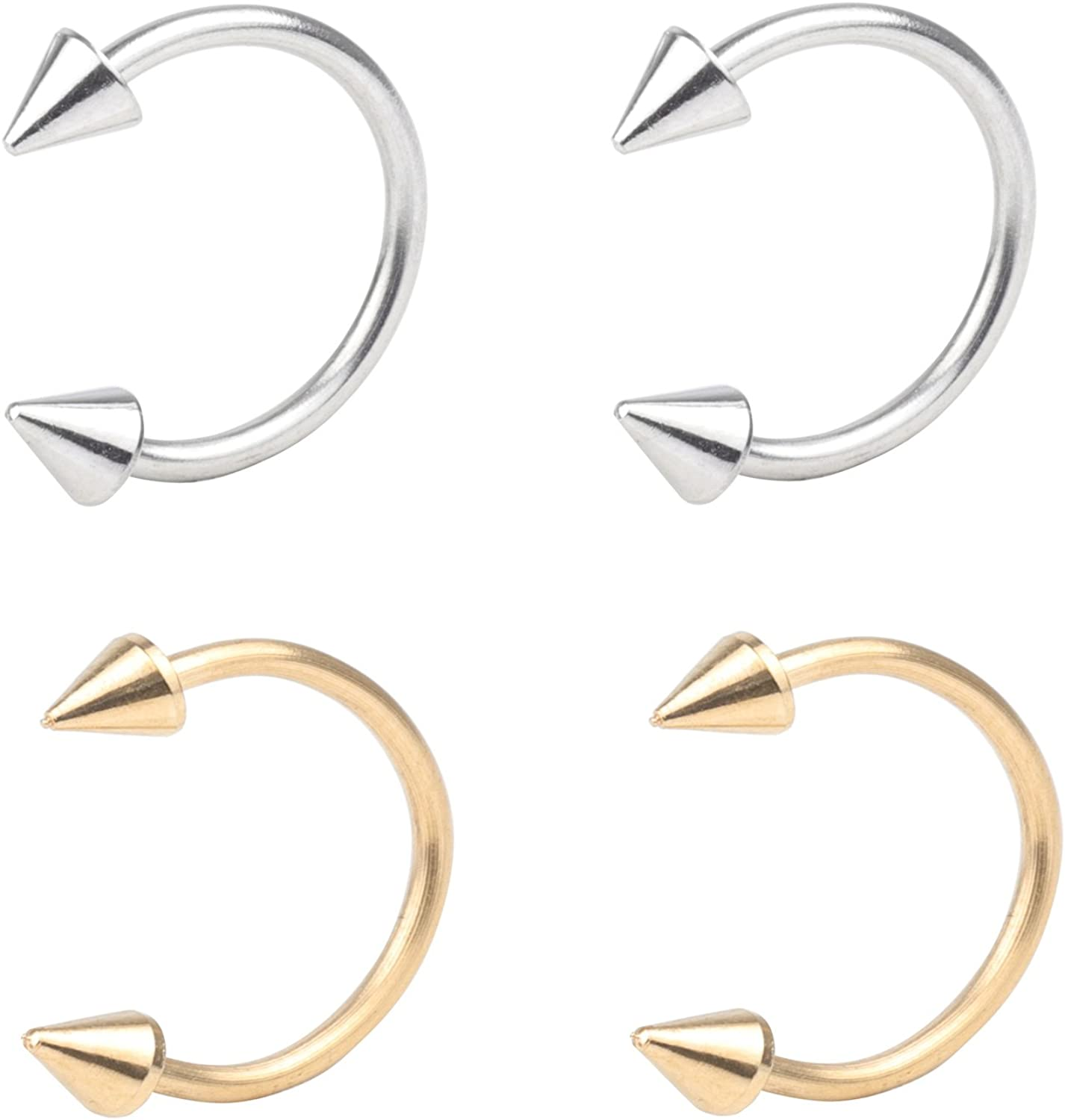 16G Nose Septum Horseshoe Hoop Earring Eyebrow Tragus Lip Piercing Ring 3mm Spike 10mm Surgical Steel