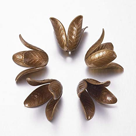 5pcs Antique Bronze 4-Petal Brass Flower Bead Caps DIY Jewelry Findings 17x22mm