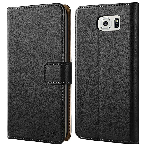 HOOMIL Case Compatible with Samsung Galaxy S6, Premium Leather Flip Wallet Phone Case Cover for Samsung Galaxy S6 2015 (Black) ()