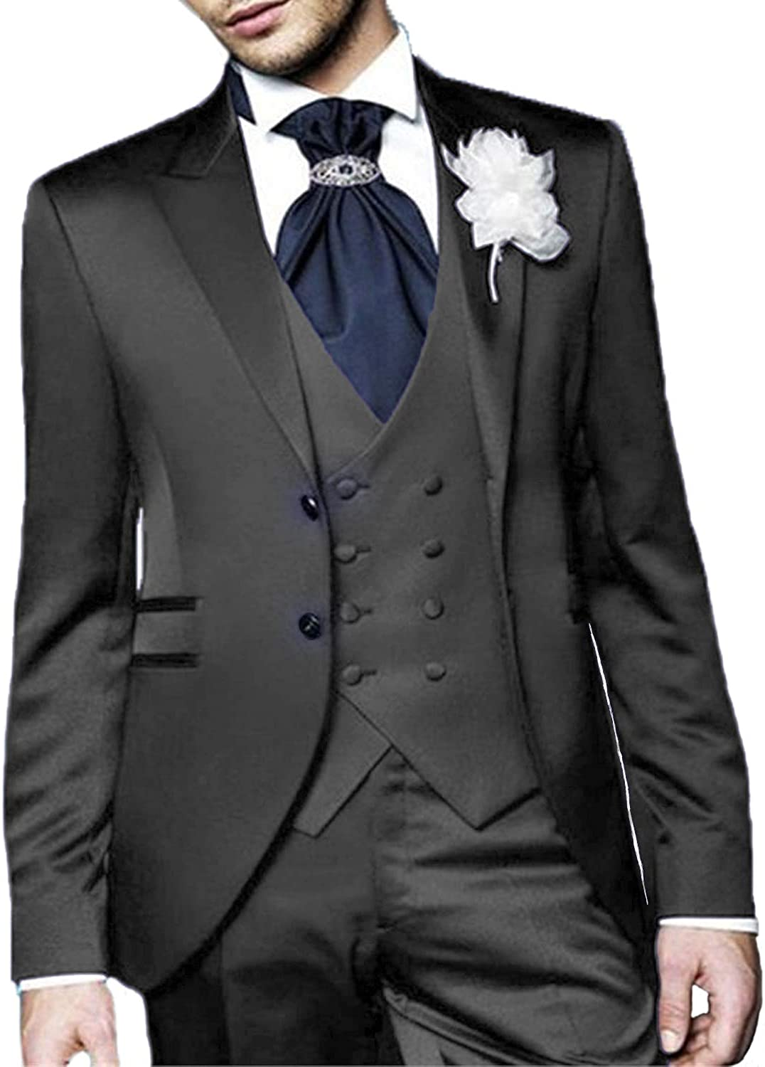 Everbeauty Mens 3 Piece Wedding SuitsSlim Fit Tuxedo Stylish Formal Prom Suit Party Jacket Blazer EXZ022