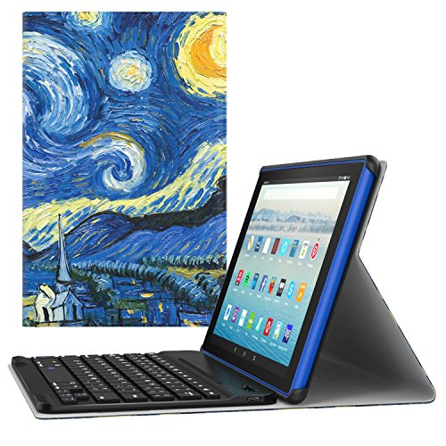 or All-New Amazon Fire HD 10 Tablet (7th Generation, 2017 Release Only) - Wireless Keyboard Cover with Auto Wake/Sleep for Fire HD 10.1 Inch Tablet, Starry Night ()