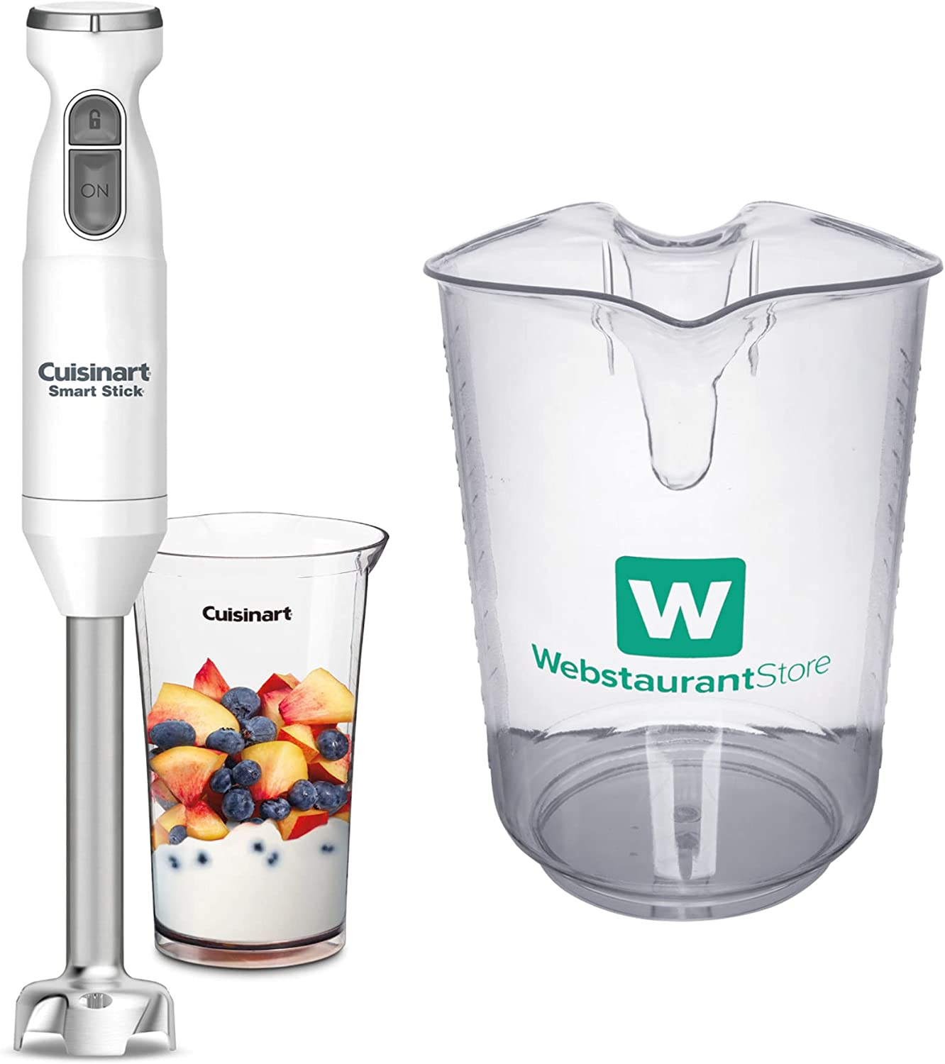 Cuisinart CSB-175 Smart Stick Hand 2-Speed Blender (White) with 4 Qt. (16 Cups) Clear Polycarbonate Measuring Cup Bundle (2 Items)