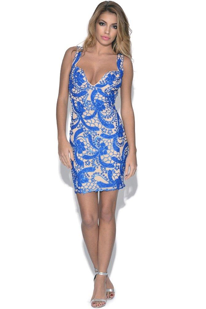 Holt Brie pintada a mano vestido de fiesta Azul azul XS: Amazon.es: Ropa y accesorios