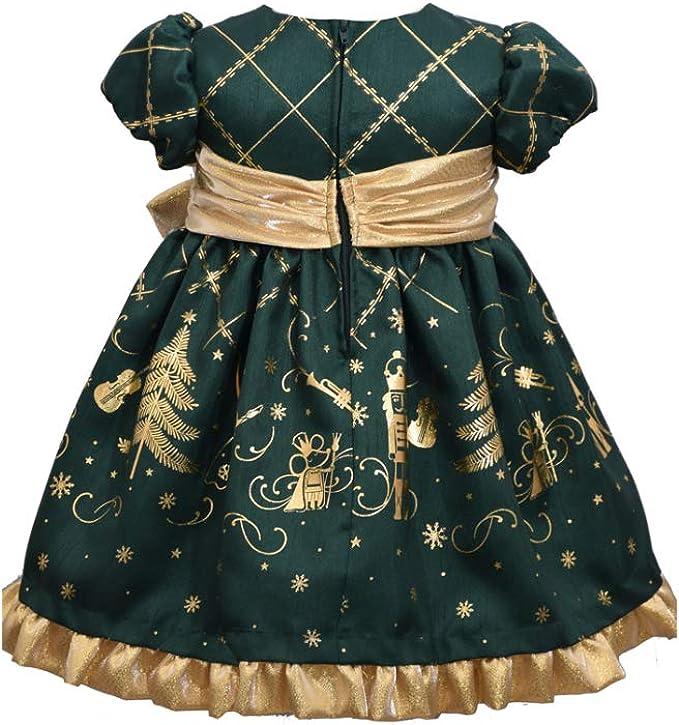 Green Nutcracker Dress with Gold Cardigan Bonnie Jean Christmas Dress