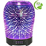 3D Aromatherapy Glass Essential Oil Diffuser COOSA 100ml Ultrasonic Aroma Diffuser Cool Mist Humidifier with 7 Color Changing LED Lights and Waterless Auto Shut-off for Home Office Baby Room Spa Yoga
