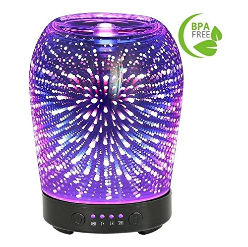 3D Aromatherapy Glass Essential Oil Diffuser Coosa 100Ml Ultrasonic Aroma Diffuser Cool Mist Humidifier With 7 Color Changing Led Lights And Waterless Auto Shut Off For Home Office Baby Room Spa Yoga