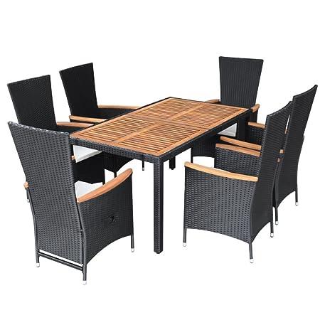 Festnight Juego Mesa y sillas de Rattan de Comedor de giardio Patio ...