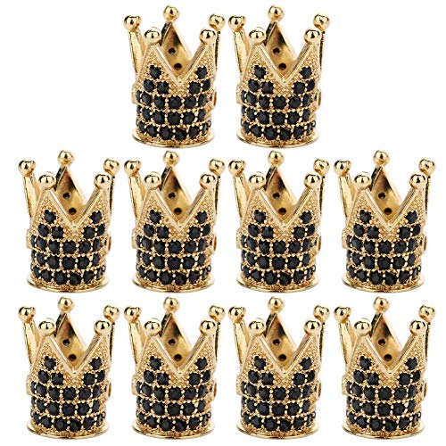 Ozzptuu 10PCS King Crown Spacer Beads Pendants Cubic Zirconia Pave Charm Beads with Black Crystal for Jewelry DIY Making (Gold)