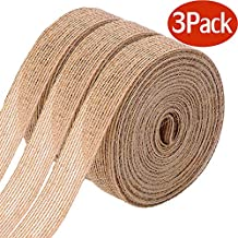 3 Rolls of Natural Burlap Fabric With Beautiful Burlap Ribbon Wedding Event Party And Home Decoration Long 10M Wide 2cm Each Roll