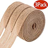 Arts & Crafts : 3 Rolls of Natural Burlap Fabric With Beautiful Burlap Ribbon Wedding Event Party And Home Decoration Long 10M Wide 2cm Each Roll