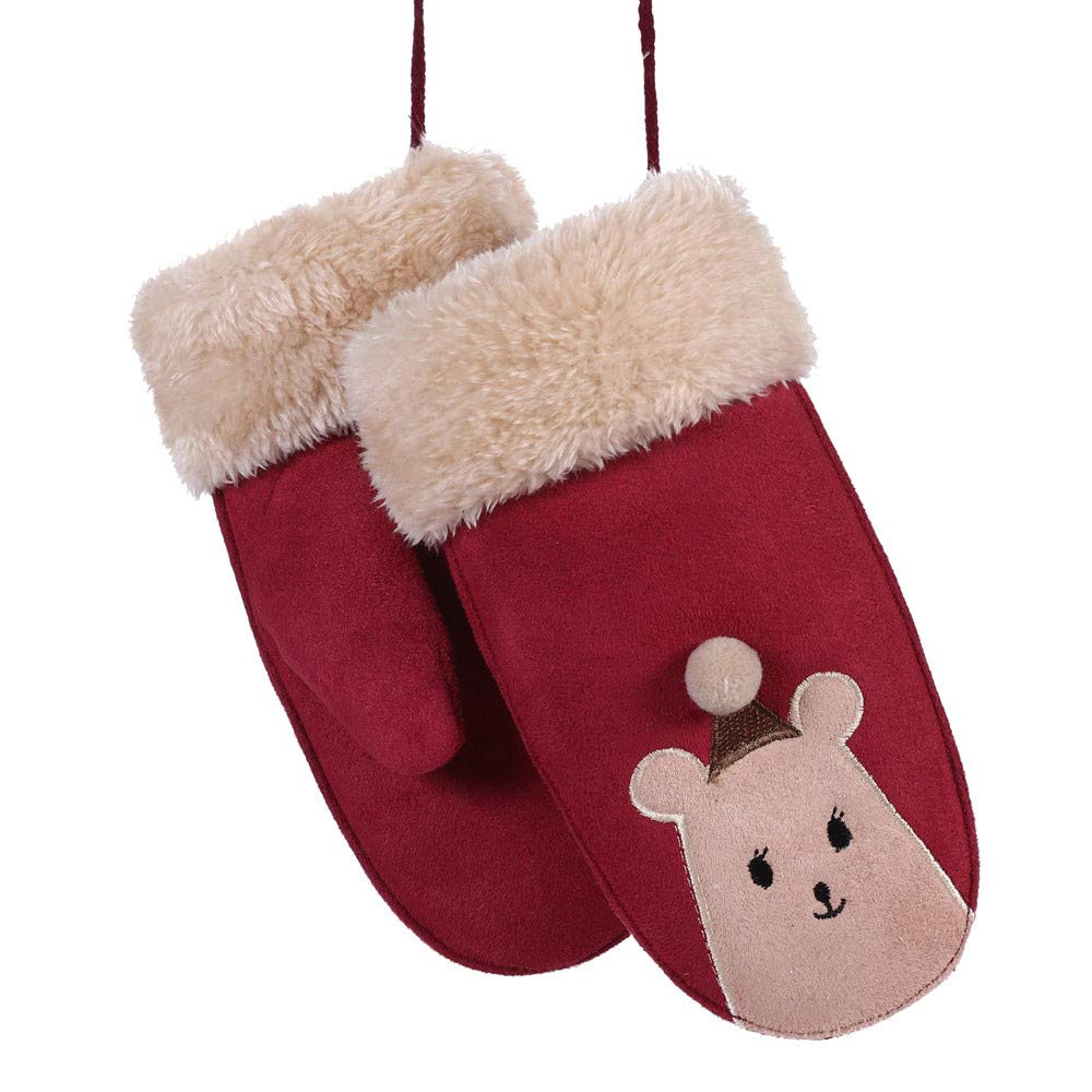Muium Toddler Baby Girls Boys Christmas Twist Full Finger Gloves Winter Warm Mittens Gift For 2-8 Years Old