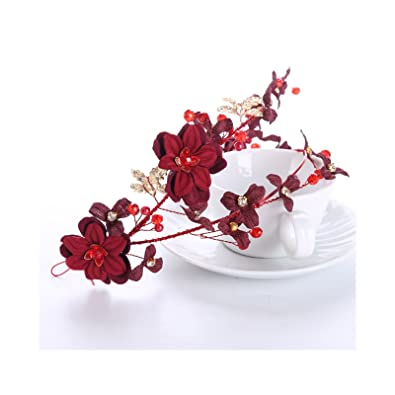 AnazoZ Fascinator Women Alloy Pearl Flower Red Crown Fascinator Bridal  Wedding Crown Fascinator Wedding Red  Amazon.co.uk  Jewellery f0e25464051