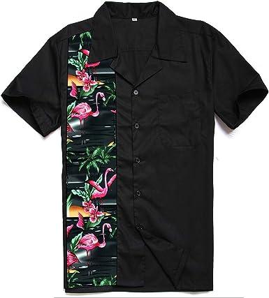 Candow Look Black Contrast Tropical Forest Flamingo Pattern Camisa Casual - Button Down - Manga Corta - para Hombre: Amazon.es: Ropa y accesorios