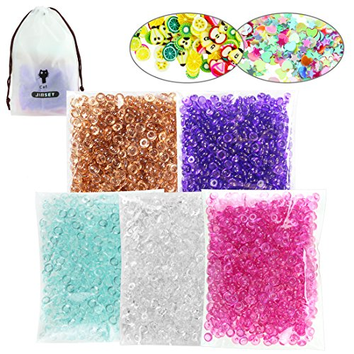 350 Gram Fishbowl Beads for Floam Slime, Fish Bowl Beads Vase Filler Sugar Slushie Beads with Fruit Slice and Glitter Sequins for Kid's DIY Craft Supplies, Crunchy Slime and Home Decor, 12.5oz, 5 Pack (Sequin Fish)