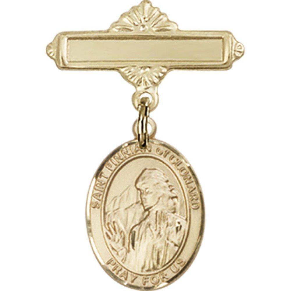 ゴールドFilled Babyバッジwith St Finnian of Clonardチャームand Polishedバッジピン1 x 5 / 8インチ   B00PQ7RB9U
