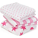 aden + anais Classic Musy Muslin Squares (Fluro-Pink, Pack of 3)