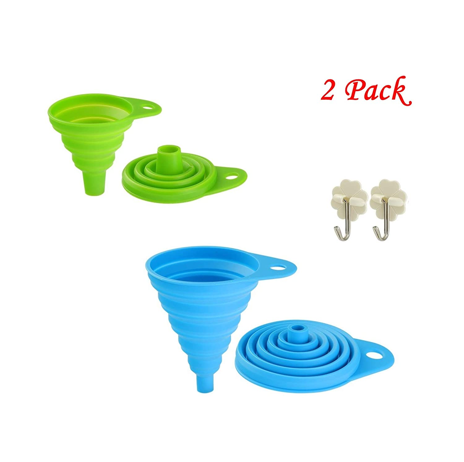 Collapsible Funnel Set, Food Grade FDA Approved Silicone Funnel Folding for Cooking, Water Bottle, Liquids, Powders Must-Have Kitchen (1 pack large+1 pack small)