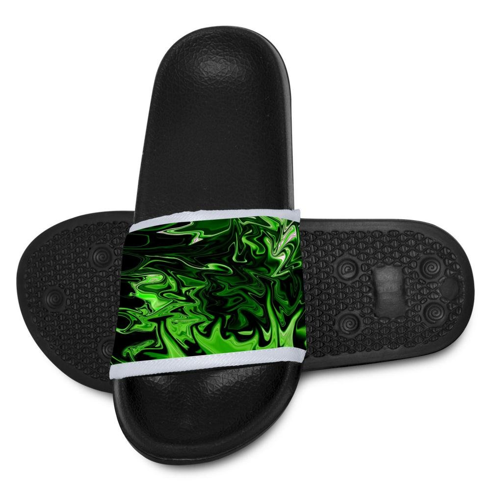 Kids Hawaii Slipper 3D Black And Lime Green Open Toe Non Slip Shower Shoes Flip-flop Flat Sandals