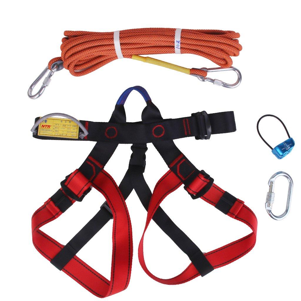 1 Set Rock Climbing Kit Safety Harness+Rappel Belay+ Carabiner+ 10M Rope Generic