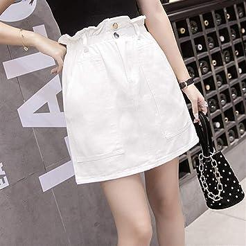 JingBiaomaoyi Falda Vaquera con Faldas elásticas de Cintura Alta y ...