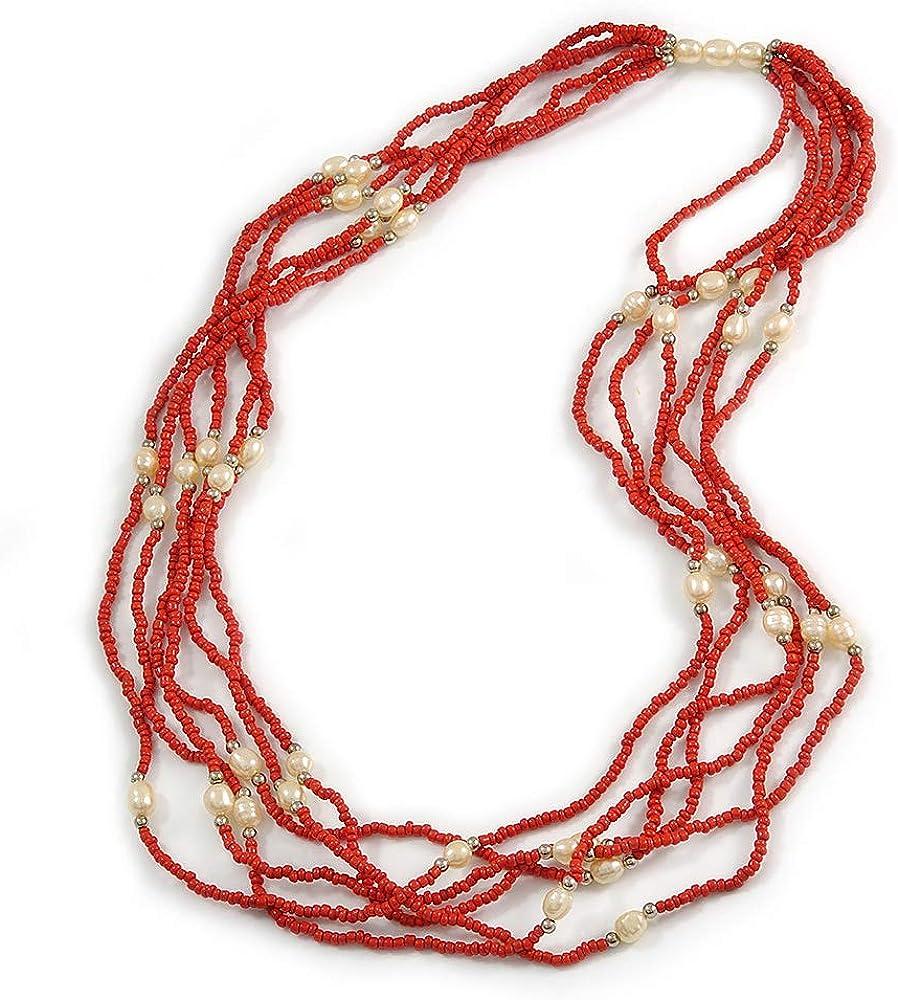 Avalaya - Collar largo de perlas de imitación de cristal rojo, 70 cm de largo