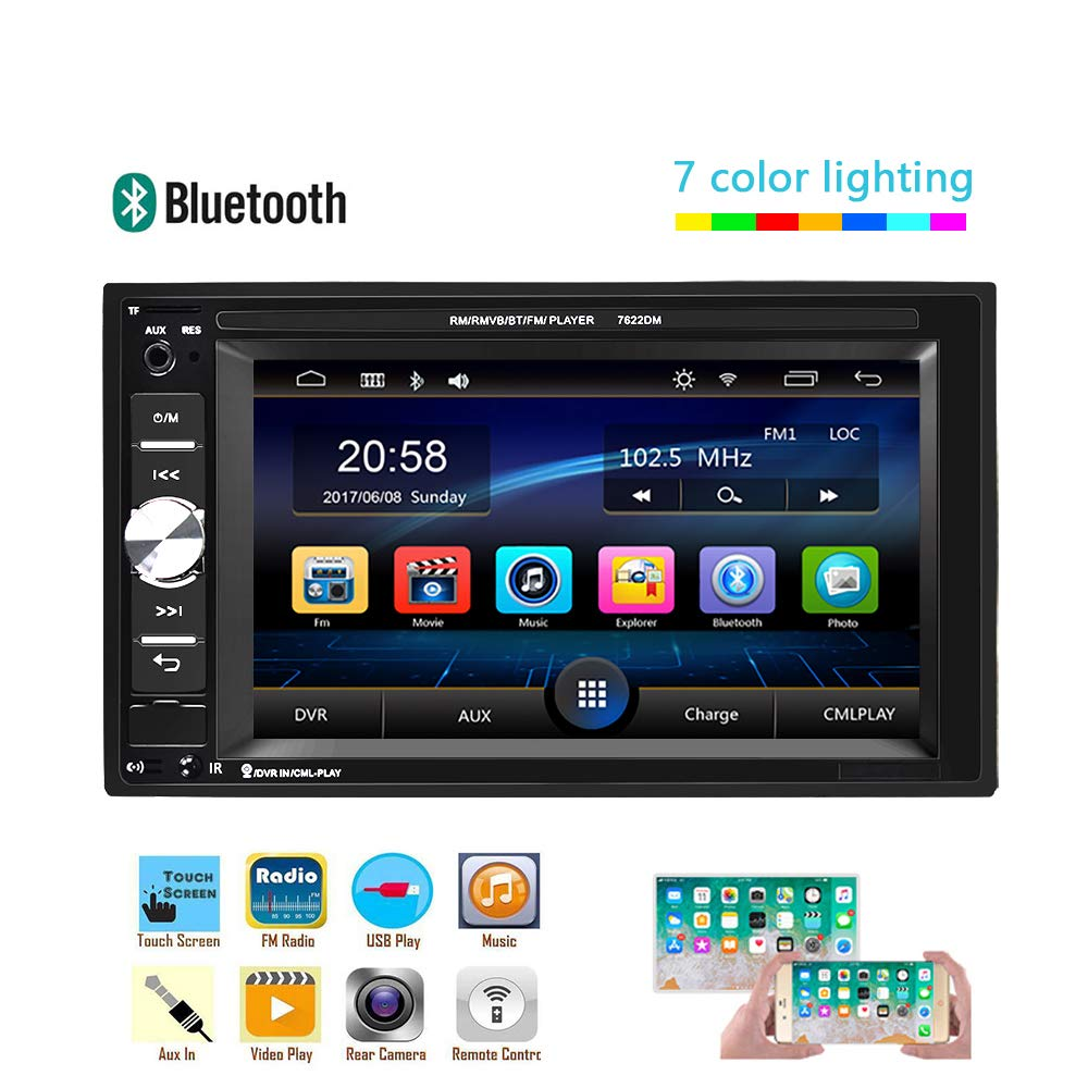 UNITOPSCI Car Multimedia Player - Double Din, Bluetooth Audio and Calling, 6.2 Inch LCD Touchscreen Monitor, MP5 Player, WMA, USB, SD, Auxiliary Input, FM Radio Receiver,Rear View Backup Camera by UNITOPSCI