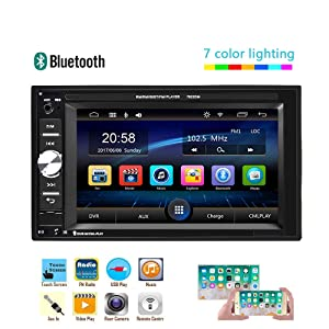UNITOPSCI Car Multimedia Player – Double Din, Bluetooth Audio and Calling, 6.2 Inch LCD Touchscreen Monitor, MP5 Player, WMA, USB, SD, Auxiliary Input, FM Radio Receiver,Rear View Backup Camera