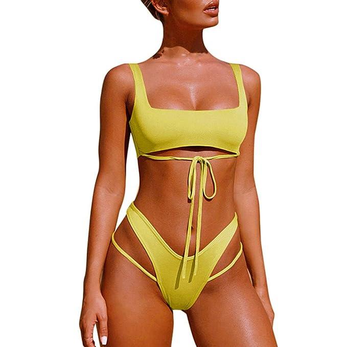 Mujer Conjunto De Bikini con Detalle De Volante con Tirante Ajustable de baño Bikini,+2 PCS Traje de Baño 2018 Verano Sexy: Amazon.es: Electrónica