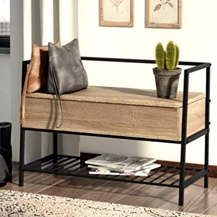 Charmant Entry Bench With Shoe Storage Rustic, Contemporary Vintage Metal Leg Shoe  Storage Bench, Charter