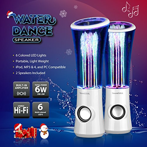SoundSOUL Dancing Water Speakers LED Speakers Water Fountain Speakers Mini Music Amplifier(6 Colored LED Lights,Dual 3W Speakers,Perfect Birthday/Thanksgiving for Your Family) - White by SoundSOUL (Image #3)