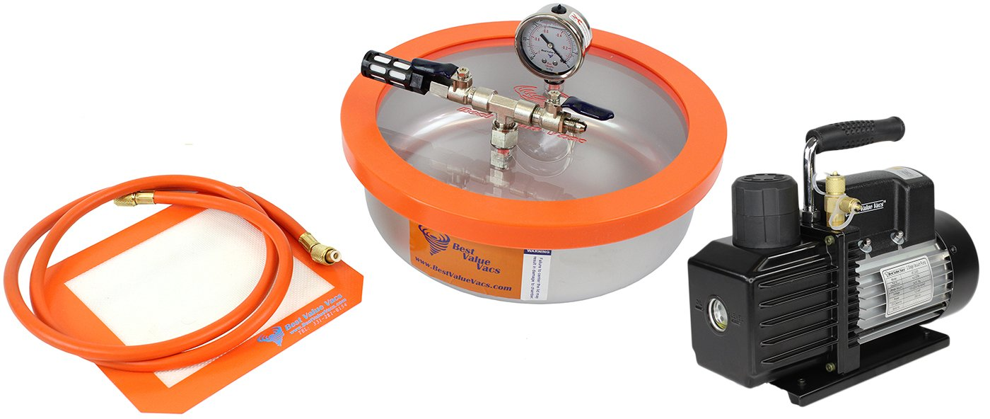 1 Gallon Flat Stainless Steel Best Value Vacs Vacuum Degassing Chamber and VE115 3CFM Single Stage Vacuum Pump Kit, Purge, Degas, Silicone, Resin, Epoxy