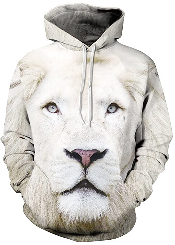 Unisex Realistic 3D Digital Print Pullover Hoodie Hooded Sweatshirt Style 6) e-youth