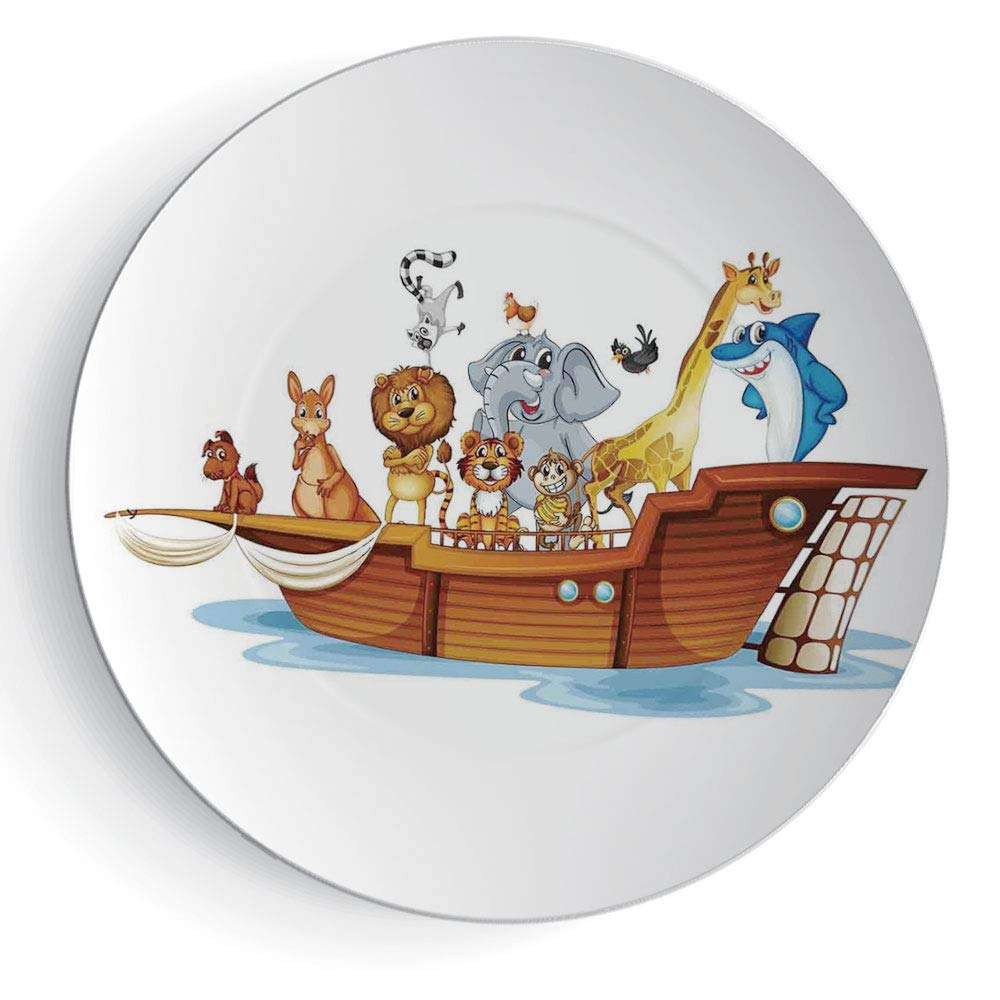 iPrint 6'' Religious Illustration of Many Animals Sailing in The Boat Mythical Journey Faith Giraffe