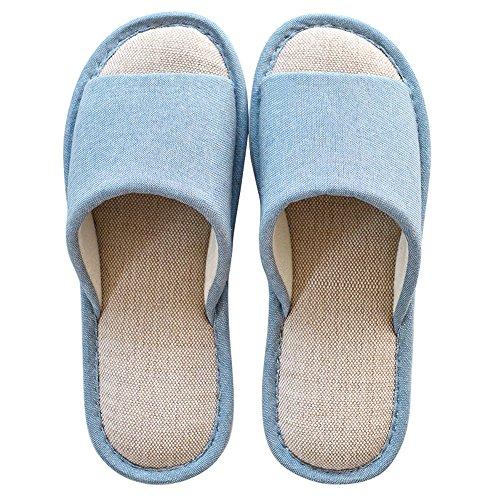 Azul Otoño Y antideslizante Primavera Linen Señoras 37 ZHIRONG Toe Verde Inicio Moderno Pantuflas Zapatillas Color Tamaño Open 38 37 35 gBfqvHw