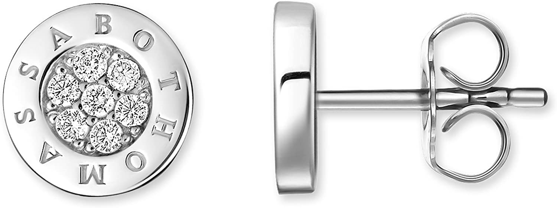 Thomas Sabo Pendientes de botón , Plata de ley 925 ,diamante ,Mujer ,blanco