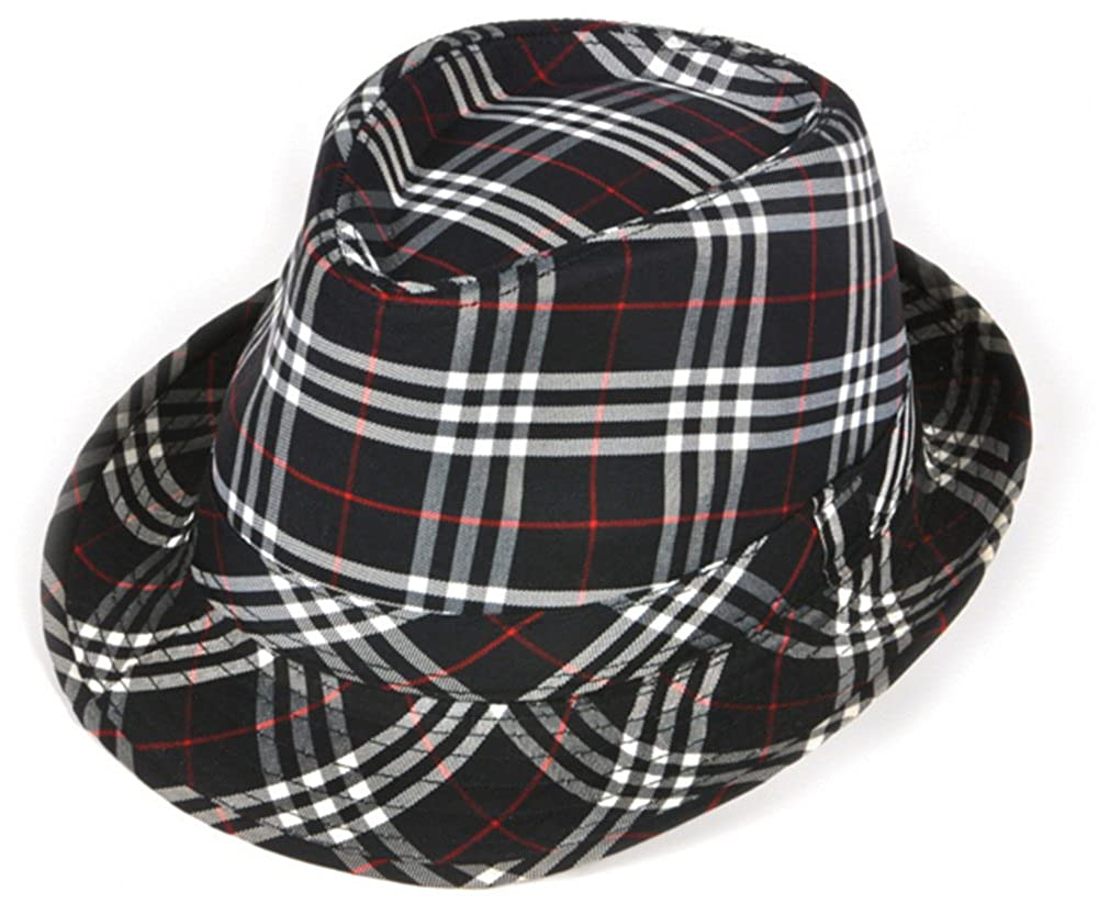 Amazon.com  Deluxe Navy Blue and White Plaid Pattern Fedora Hat  Clothing 0ce08a4f6885